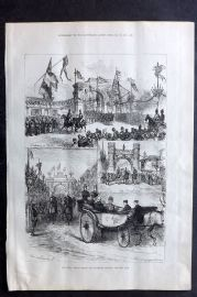 ILN 1880 Antique Print. Royal Visit to Truro: The Triumphal Arches, Cornwall